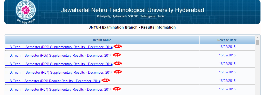 JNTUH 3-1 Reg/Sup Results & JNTU Hyderabad 3-2 Sup Results Out